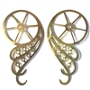 Brass Stampings, Brass Wheel, Steampunk Jewelry, Swirling Wheel, Raw Brass, 56 x 29mm.