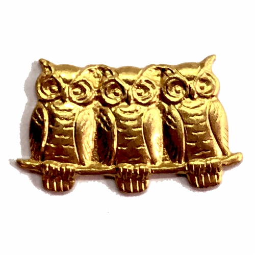 owl stamping, 07552, raw brass, brass, owls, unplated brass, owls on branch, stamping, brass stamping, birds, animals, 22 x 12mm, B'sue Boutiques, owl jewelry, jewelry findings, vintage supplies, jewelry supplies, brass jewelry, jewelry making