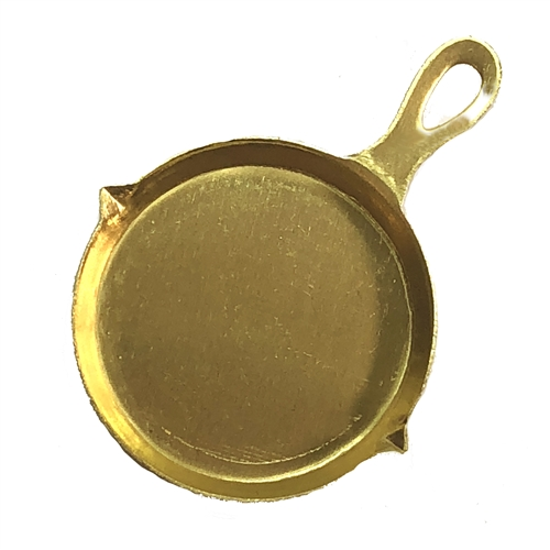 frying pan, charm, raw brass, 07554, embellishment, unplated brass, charms, pots and pans, kitchen, cooking, chef, cook, pan, pot, brass charm, Bsue Boutiques, jewelry supplies