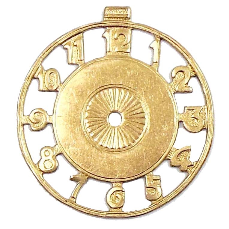 Brass Stampings, Clock Face, Drilled Center, Open Letters, 41 x 38mm