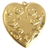 heart pendent, victorian style, raw brass, heart, brass stamping, pendent, brass heart, raw, brass, victorian, 61x57mm, charm, B'sue Boutiques, nickel free, us made, jewelry findings, vintage supplies, jewelry supplies, jewelry making, 07645