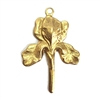 brass iris drop, brass flowers, brass charms, 07646, unplated brass, US made jewelry supplies, vintage jewelry supplies, bsueboutiques, jewelry making, brass jewelry parts, iris, flower