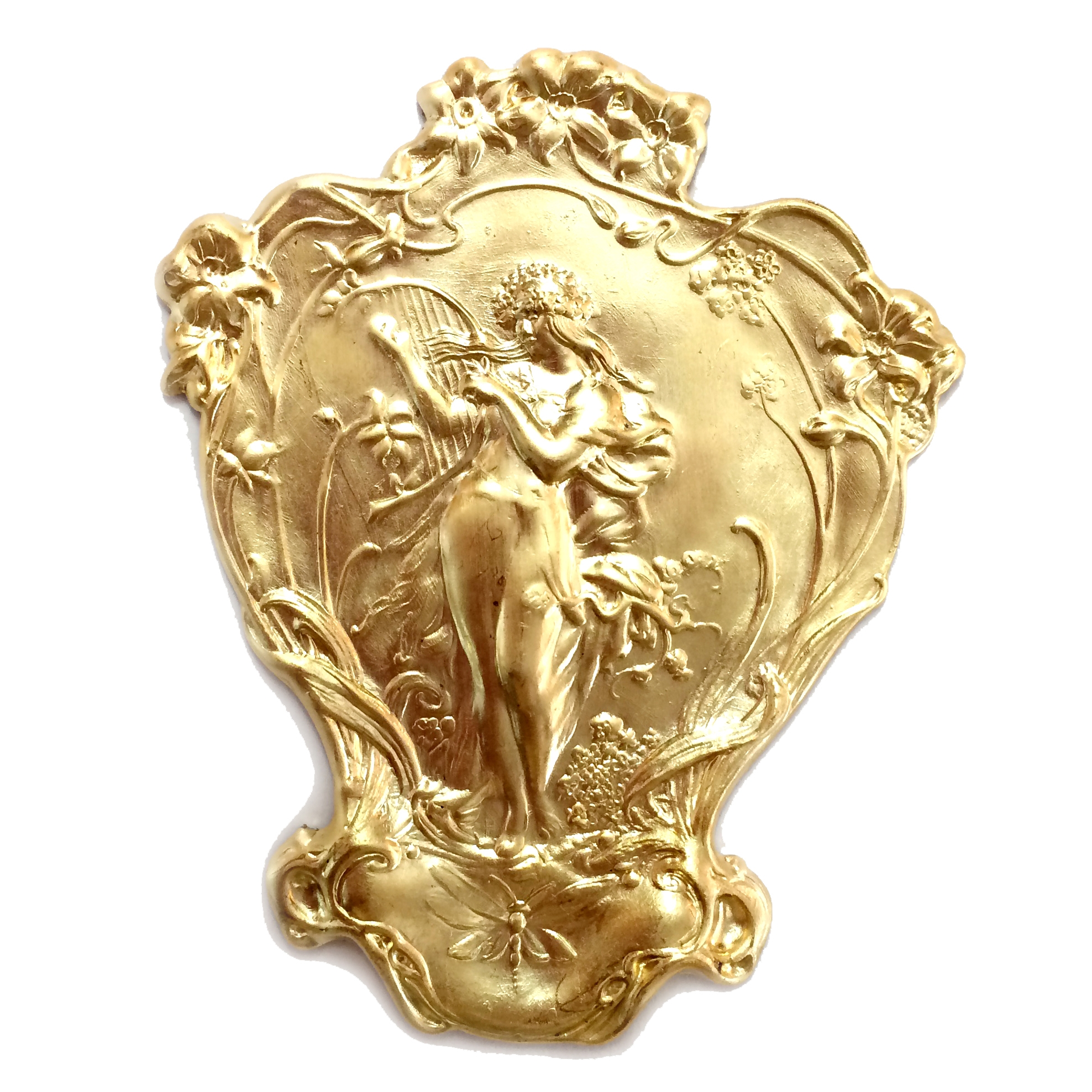 vintage brass lady, art nouveau, 07669