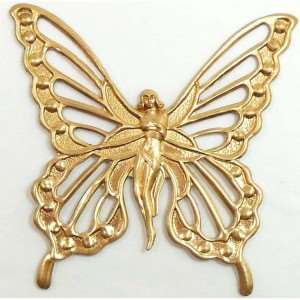 butterfly pendant, nymph, raw brass, 57 x 57mm