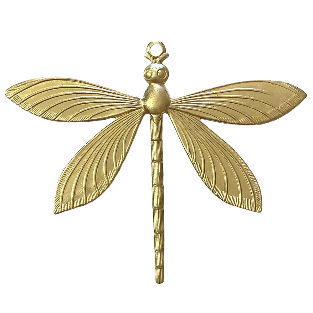 art deco dragonfly, raw brass, unplated brass, dragonfly, insects, dragonfly jewelry, jewelry making, vintage supplies, jewelry supplies, US made, nickel free, B'sue Boutiques, 52x64mm, dragonfly stamping, 09020