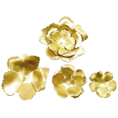 hibiscus cluster set, flower, raw brass, flower, hibiscus, 3 pieces, rose, brass stamping, petals, brass, unplated, drilled, stamping, 5 petal, flower petal, us made, nickel free, B'sue Boutiques, jewelry findings, vintage supplies, jewelry supplies,09253