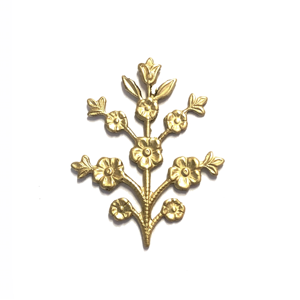 floral sprig, raw brass, B'sue Boutiques, nickel free, US made, jewelry supplies, vintage supplies, flower stem, flower sprig, flower, silver, stem, jewelry making, jewelry findings, sprig, 09260