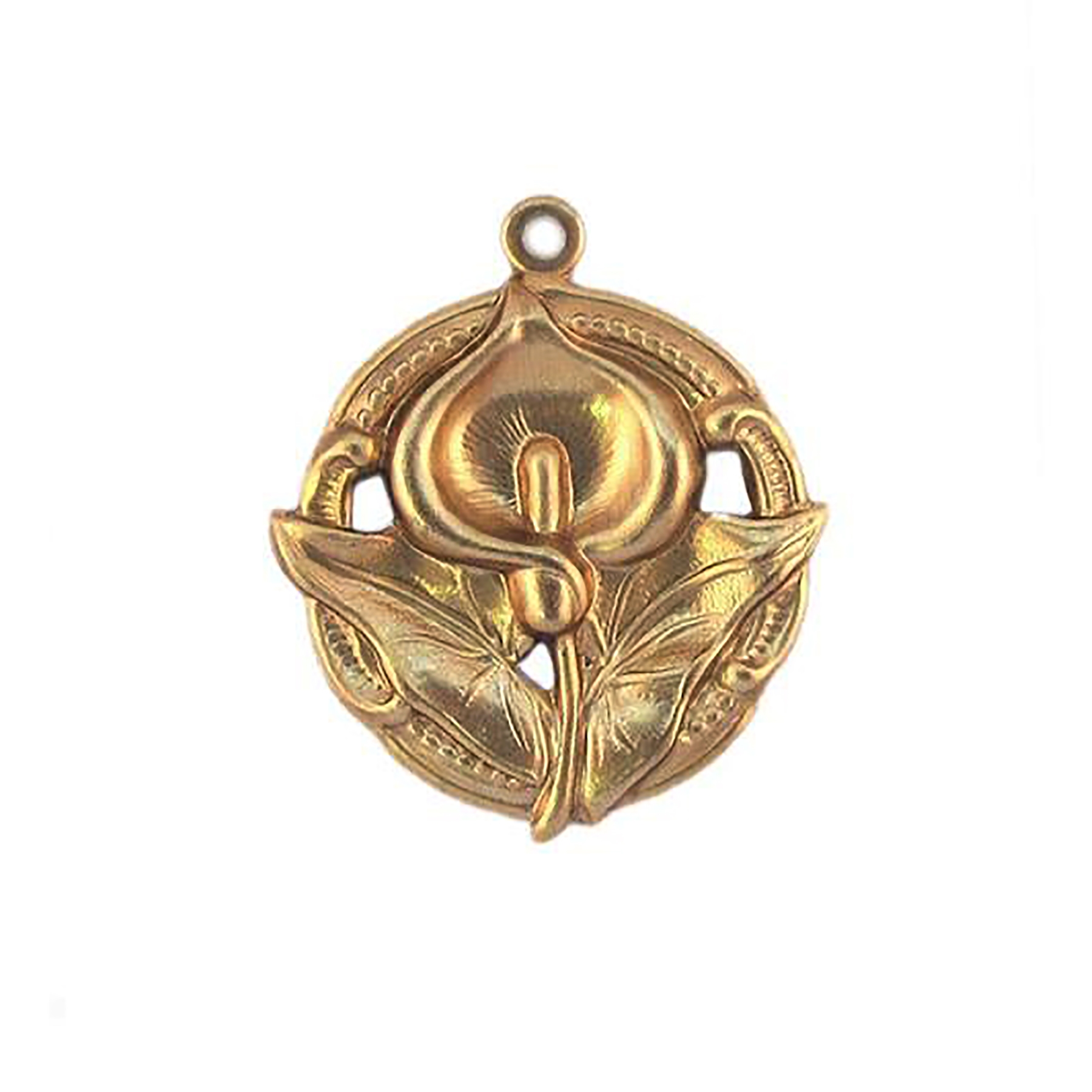 lily pendant, raw brass, pendant, unplated brass, flower design, garden pendant, US made, flower pendant, drop pendant, jewelry making, jewelry supplies, vintage supplies, jewelry findings, brass stamping, charm, floral design, lily, 09262