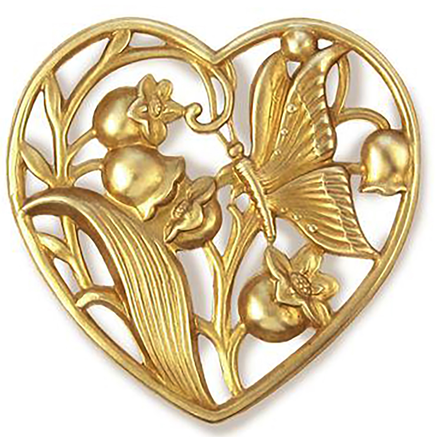 brass hearts, lily of the valley heart, heart stampings, filigree hearts, 09264, jewelry making, raw brass, jewelry making supplies, vintage jewelry supplies, US made, nickel free jewelry supplies