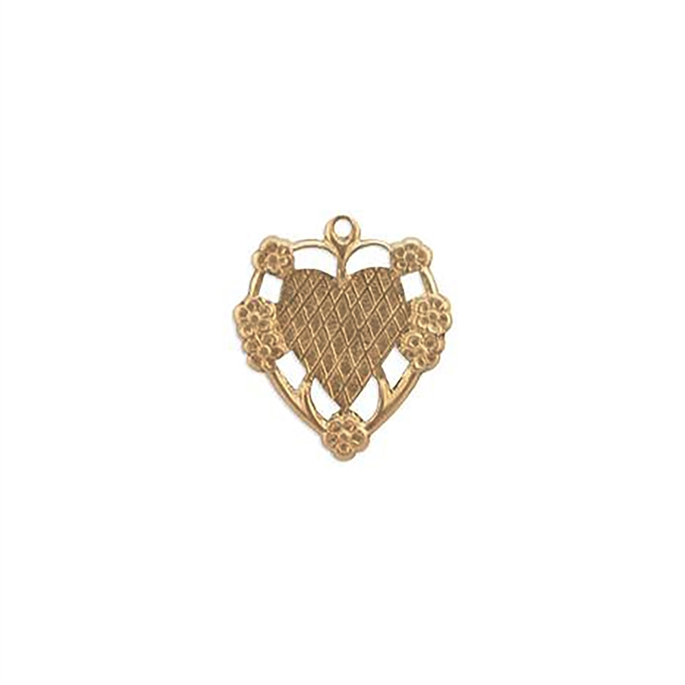 floral heart charm, raw brass, pendant, unplated brass, mount, heart, charm, mount charm, brass stamping, heart charm, brass, US made, floral heart, B'sue Boutiques, 20x17mm, jewelry making, jewelry supplies, vintage supplies, jewelry findings, 09268