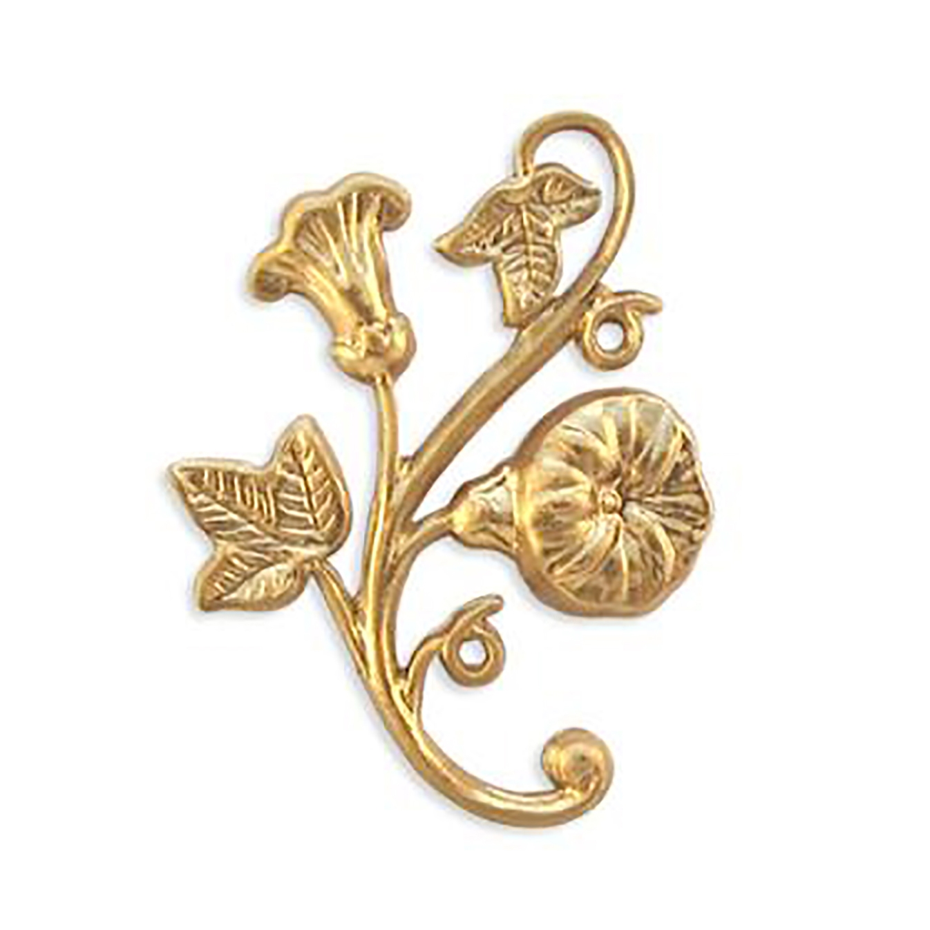 brass floral leaf sprig, floral stem, raw, 09276, jewelry making supplies, vintage jewelry supplies, brass flowers, brass leaves, US made, nickel free jewelry supplies, bsueboutiques,