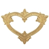 Victorian backless heart stamping, raw brass, unplated brass, backless, heart, brass stamping, backless heart, brass, US made, nickel free, B'sue Boutiques, 46x62mm, jewelry making, jewelry supplies, vintage supplies, Victorian design, 09277