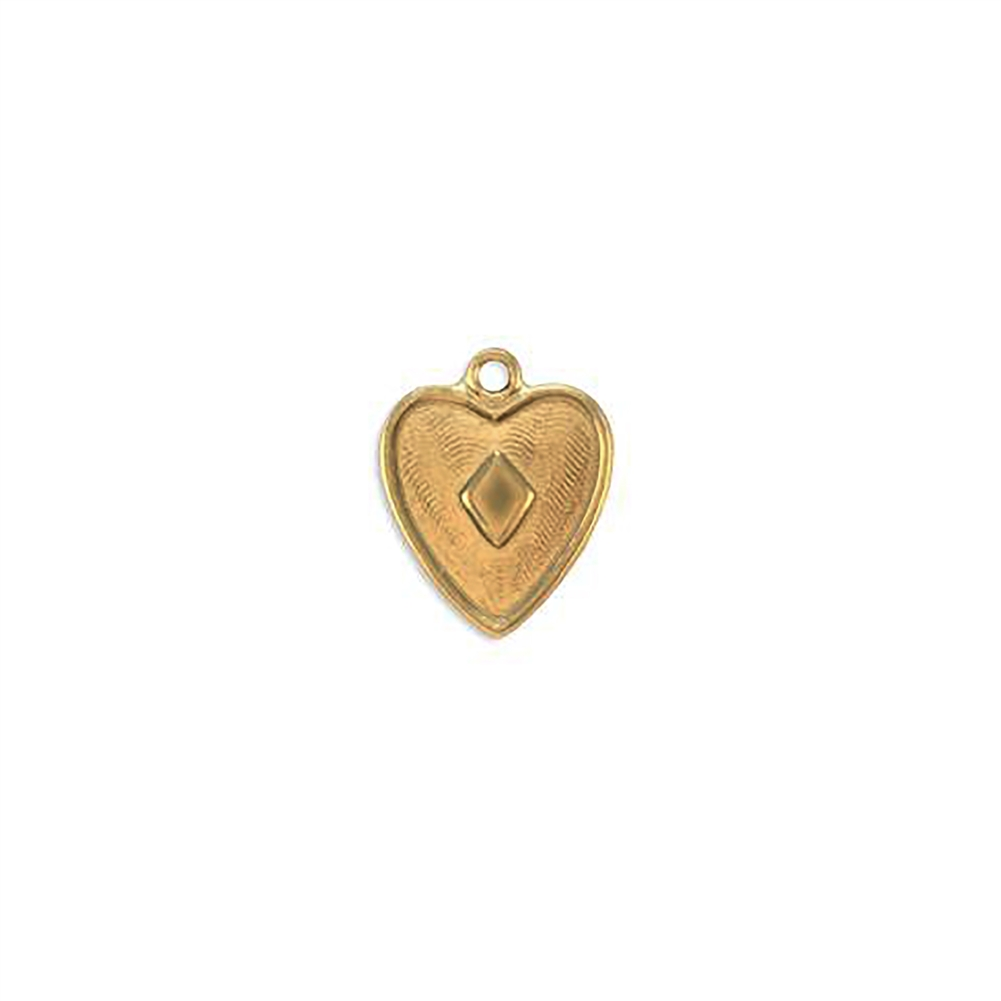 pattern heart charm, raw brass, pendant, unplated brass, heart, charm, brass stamping, heart charm, brass, US made, diamond shape center heart, B'sue Boutiques, 15x12mm, jewelry making, jewelry supplies, vintage supplies, jewelry findings, 09281
