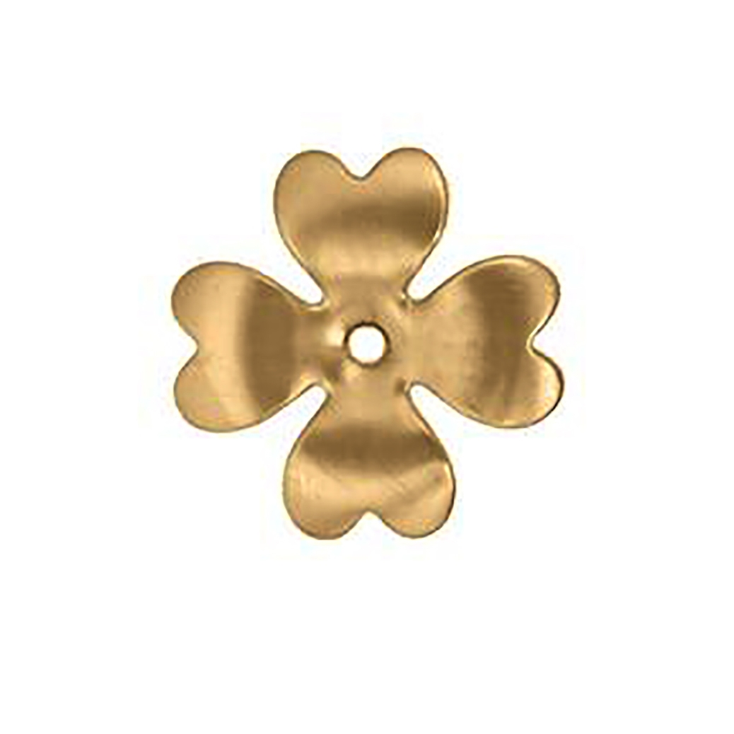 brass flower, flower base, raw brass, 27mm, drilled flower, flower base, jewelry making supplies, vintage jewelry supplies, 4 leaf clover, nickel free jewelry supplies, US made, antique brass, 09283, heart shaped petal, 4 petal flower