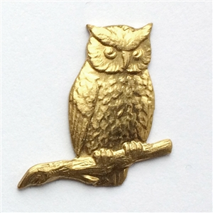 owl stamping, raw brass, brass, owl, unplated brass, owl on branch, stamping, brass stamping, bird, animal, 21x23mm, B'sue Boutiques, owl jewelry, jewelry findings, vintage supplies, jewelry supplies, brass jewelry, jewelry making, raw, 09498