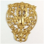 Brass Filigree, Bohemian Centerpiece, Raw Brass, 73 x 56mm