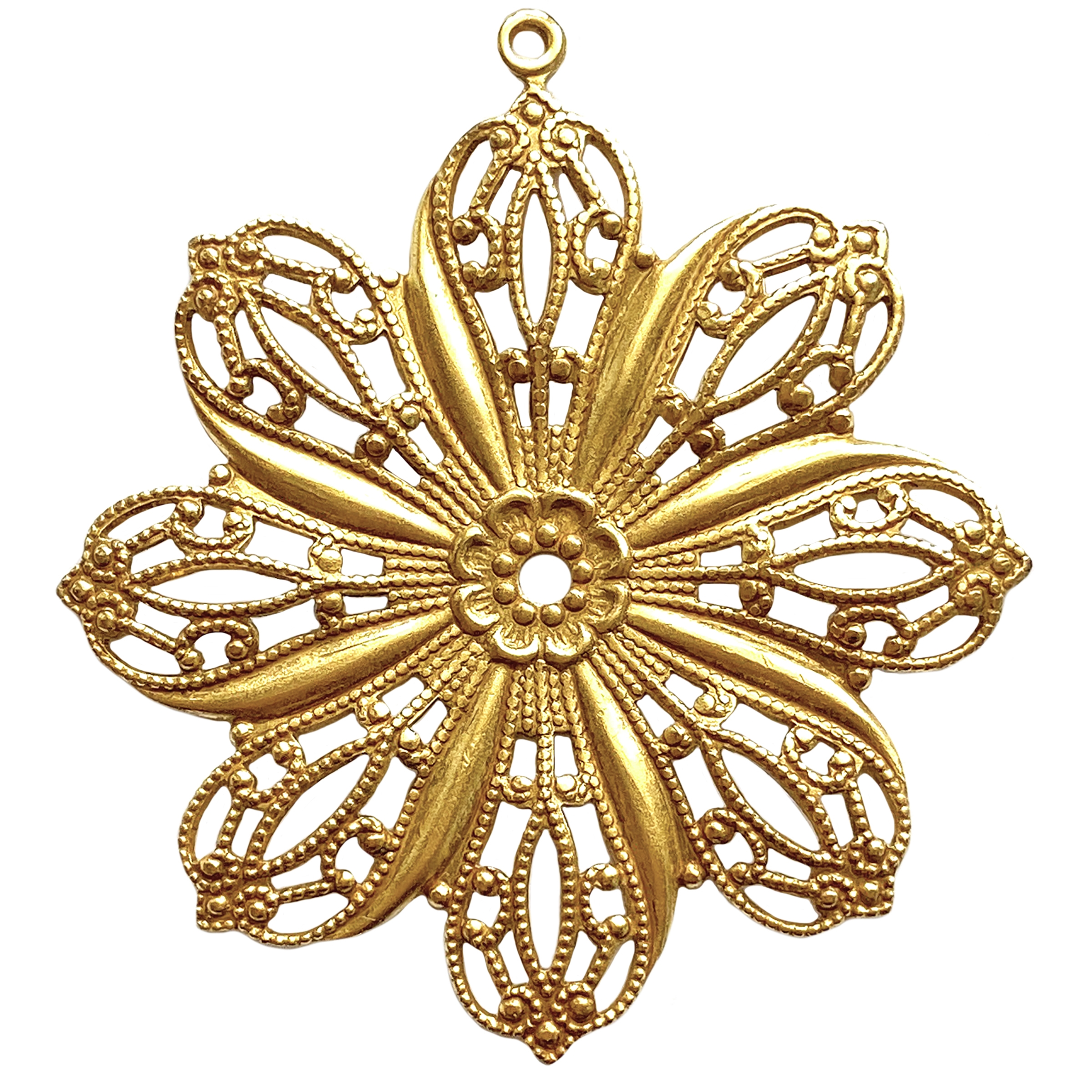 filigree flower pendant, classic gold, 01319, filigree, flower, pendant, gold pendant, floral, 46mm, gold plated, filigree pendant