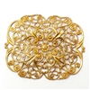 Brass Filigree, Beading Filigree, Rectangular Style, Raw Brass, 38 x 47mm