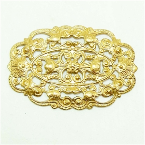 Victorian Brass Filigree Stamping, Vintage Design, Raw Unplated Brass, Oval, Raw Brass, US Made, Nickel Free, 30 x 44mm