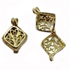 perfume filigree locket, raw brass, unplated brass, cage locket, pendant, charm, locket, hinge locket, vintage style locket, cube shape, hinged design, filigree locket, brass, filigree, jewelry making, vintage supplies, B'sue Boutiques, 24x13mm, 02422
