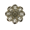 brass filigree pendent, flower, brass ox, antique brass, pendent, design elements, filigree, petals, brass stamping, brass flower, brass filigree, 46mm, us made, nickel free, B'sue Boutiques, jewelry making, jewelry findings, vintage supplies, 02296