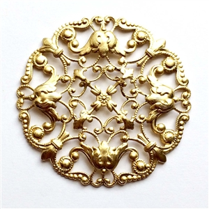 brass filigree, brass stampings, beading filigree, 03040, vintage jewelry supplies, jewelry making supplies, brass jewelry parts, raw brass, unplated brass, beading supplies, US made, Bsue Boutiques, nickel free jewelry supplies