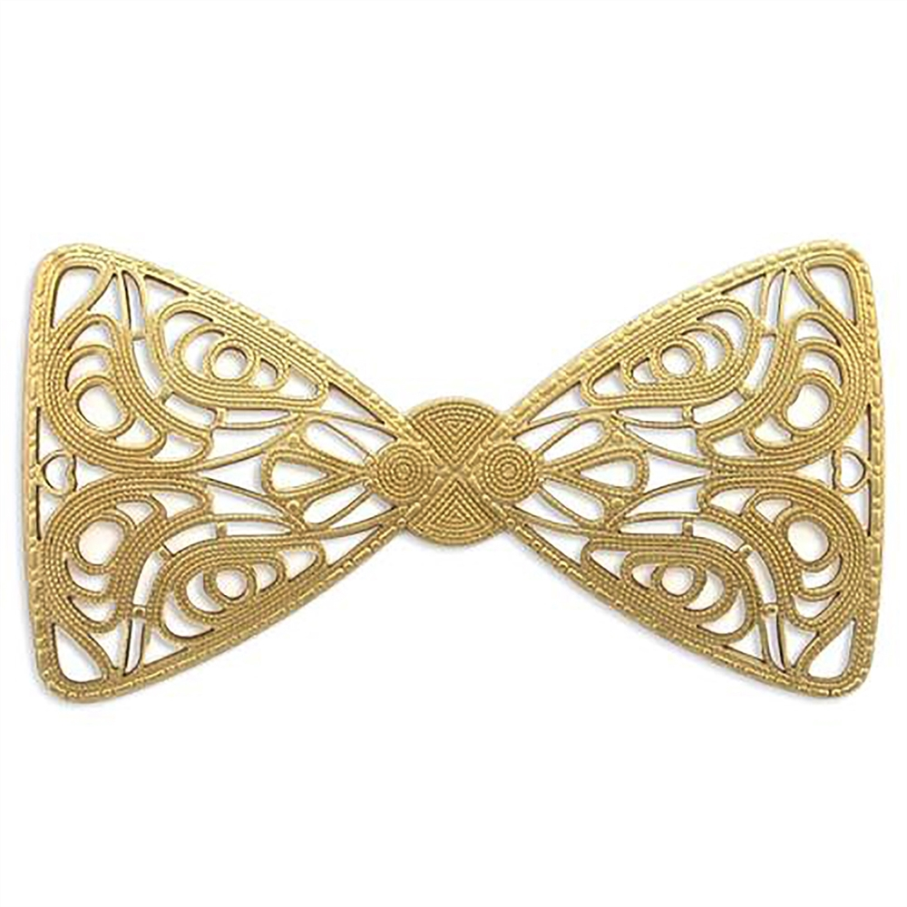 filigree bow tie, raw brass, unplated brass, bow tie filigree, large bow, B'sue Boutiques, nickel free, US made, jewelry findings, jewelry making, jewelry supplies, vintage supplies, dapt filigree bow, bow centerpiece, brass, bow tie, filigree, 03737