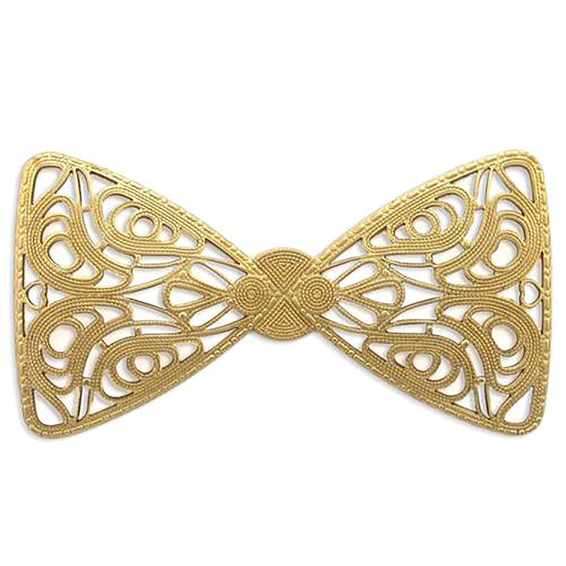 brass filigree, bow tie filigree, raw brass, 03737, large bow, bsueboutiques, nickel free, US made, jewelry findings, jewelry making supplies, vintage jewelry supplies, dapt filigree bow, bow centerpiece, unplated brass