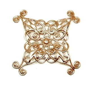 Filigree, Small X-Shape, Raw Brass, 36mm Square