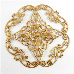 brass filigree, beading filigree, x shape, 05751, B'sue Boutiques, nickel free, US Made, beading supplies, jewelry making, jewelry supplies, brass jewelry parts, framed filigrees, raw brass, antique brass, filigree wreath
