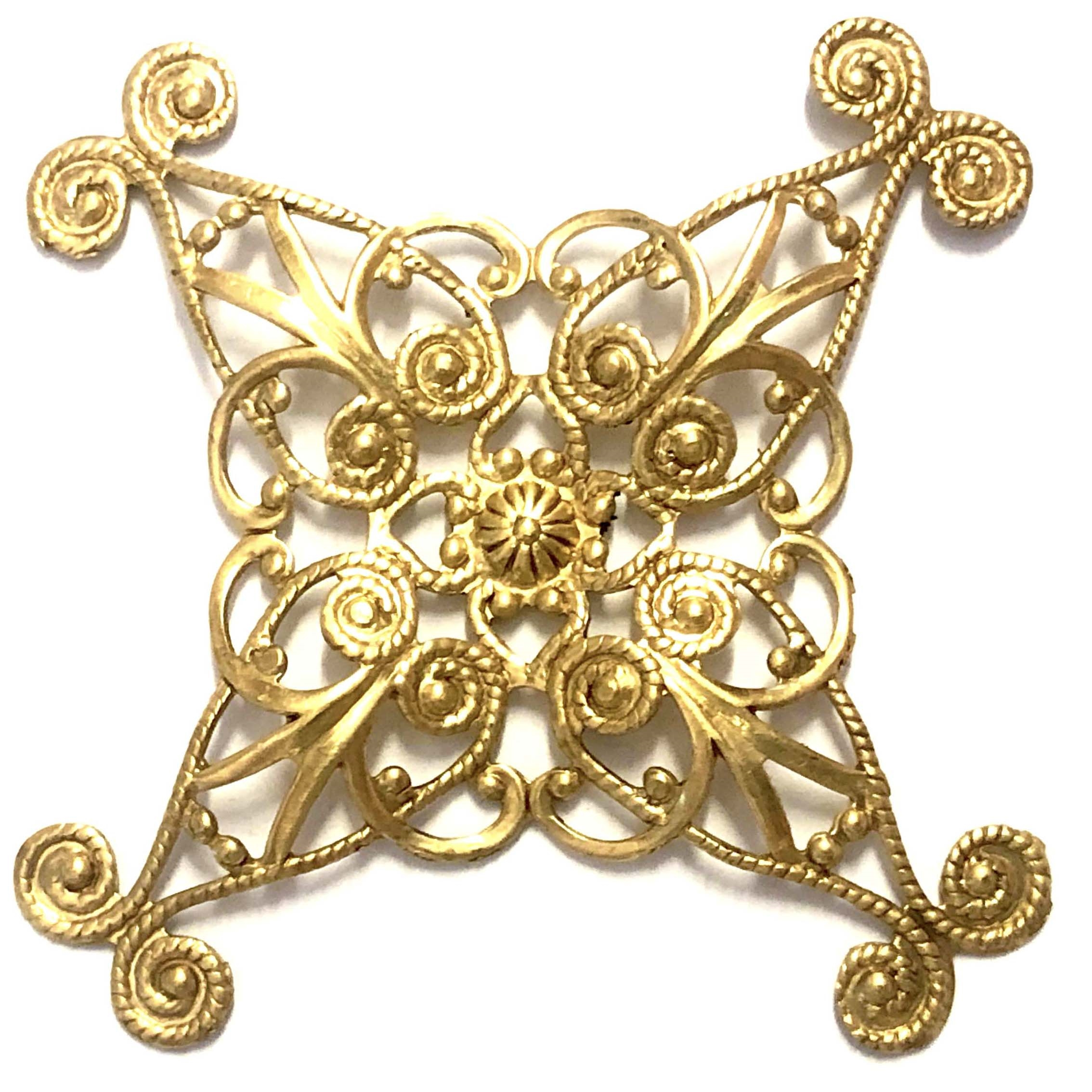 Victorian brass filigree,vintage jewelry supplies