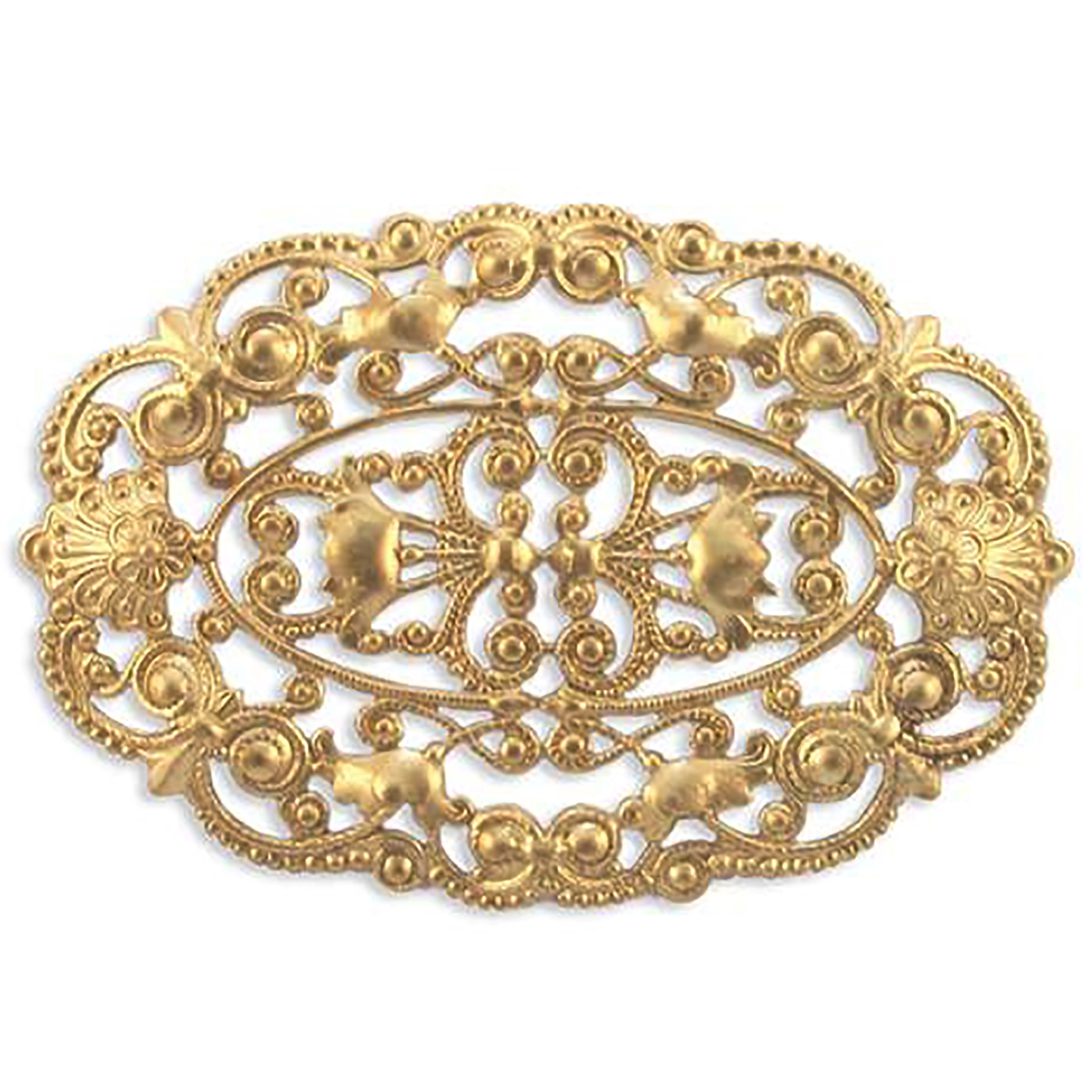 Victorian style filigree, raw brass, unplated brass, filigree, US made, victorian style, 3x2 inches, victorian filigree, brass, nickel free, jewelry making, jewelry supplies, vintage supplies, jewelry findings, B'sue Boutiques, 06237