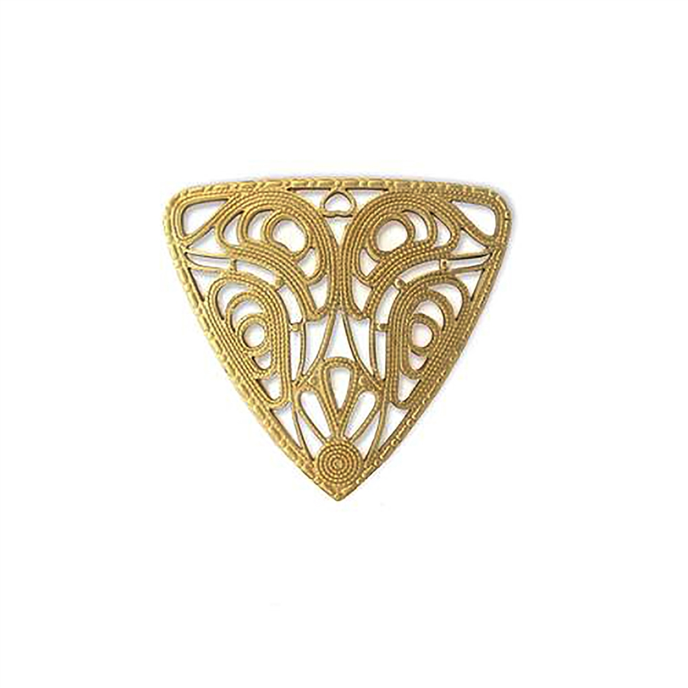 collar filigree, triangular filigree, raw brass, unplated brass, brass, antique brass, filigree, brass stamping, stamping, US made, 37x40mm, jewelry making, jewelry supplies, vintage supplies, jewelry findings, B'sue Boutiques, 06238