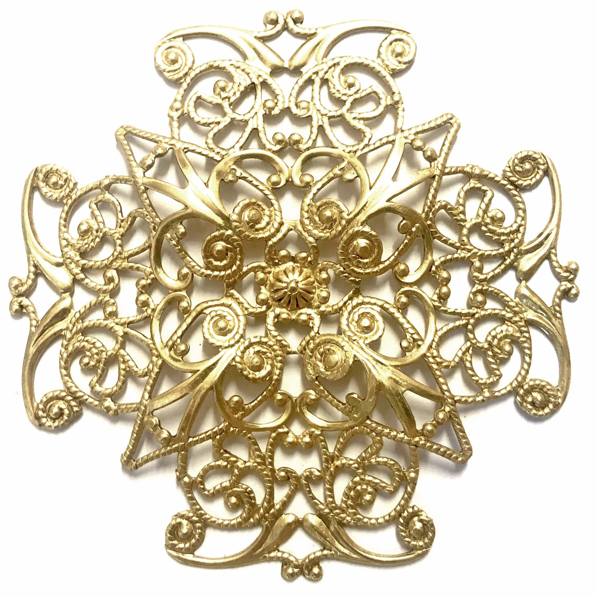 Brass Filigree, Large X-Shaped Style, Raw Brass, 62mm