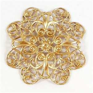 brass filigree, raw brass, 38mm
