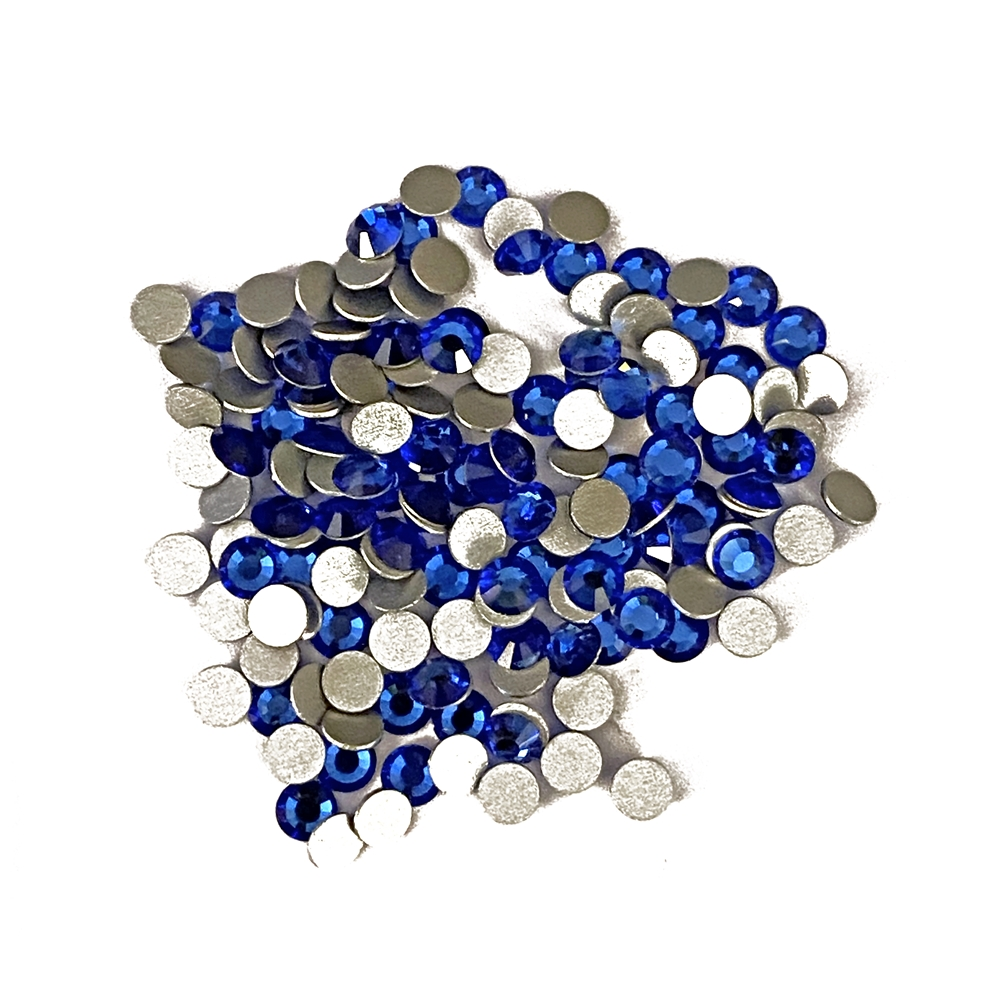 3mm preciosa sapphire flatback rhinestones, blue, rhinestone, stone, preciosa, Czech, flatback, 3mm, 32 pieces, silver folded back, sparkle, jewelry making, jewelry findings, B'sue Boutiques, jewelry supplies, sapphire rhinestones, jewelry chatons, 02852