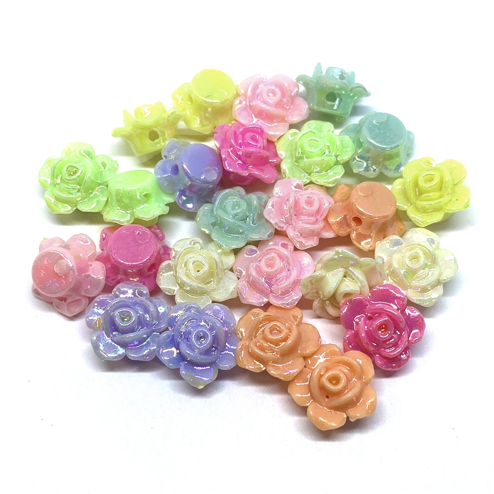 resin flowers, luster roses, mixed colors, 02183, B'sue Boutiques, assemblage flowers, vintage jewelry supplies, jewelry making, plastic flowers, jewelry making flowers, US made flowers, jewelry findings, assorted roses, rose beads, iridescent finish, AB