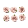 flowers, pink ceramic flowers, jewelry supplies, 12mm, pale pink, pink center, vintage jewelry supplies, flat back flowers, bisque roses, vintage roses, vintage flowers, 02219, handmade, porcelain roses