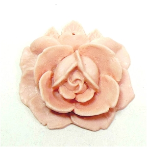 Carved Resin Flower, Drilled, Pink, 02313, vintage jewelry supplies, jewelry making, flowers, flower, pink, flat back flower, flat back, resin flower, rose, roses, jewelry supplies, raised rose, pendant, drilled flower