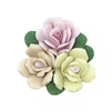 Triple Cluster Design Flower, Handmade Ceramic Flower, Vintage, Flowers, Pink, Peach, Cream, 35mm