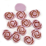 Vintage Acrylic Roses, Rose Cabochons, 05150, flat back cabs, oval rose cabs, vintage jewelry supplies, jewelry making supplies, US made, Bsue Boutiques, rose flowers, floral cabochons