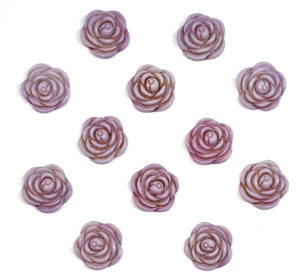 Vintage Acrylic Roses Rose Cabochons Flat Back Cabs Purple Mauve