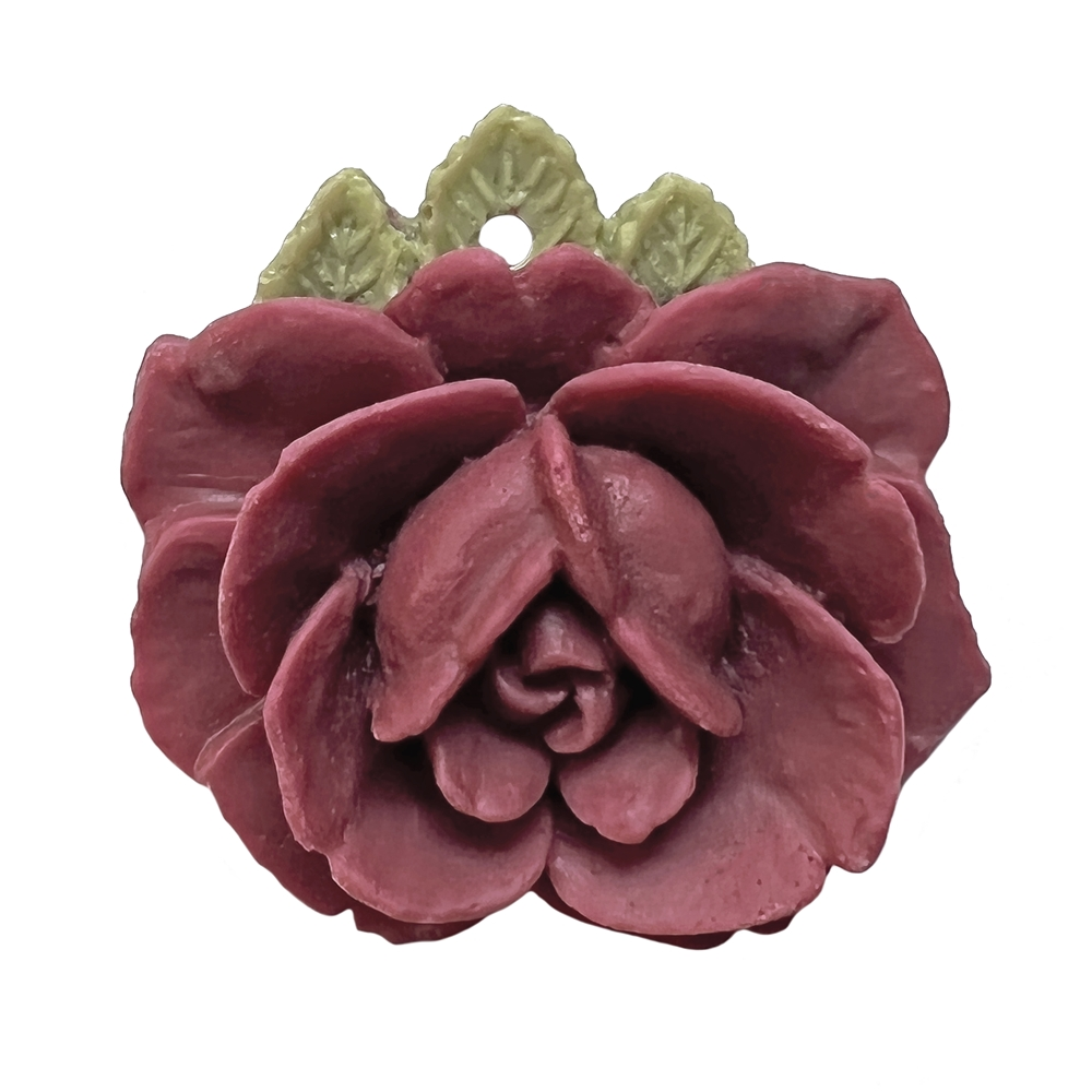 Carved Flower, Resin, Maroon, 05514, 32mm, pendant, flower pendant, rose, flat back, floral, flowers, flower, flower with leaves, roses, opaque, jewelry making, jewelry supplies, B'sue Boutiques