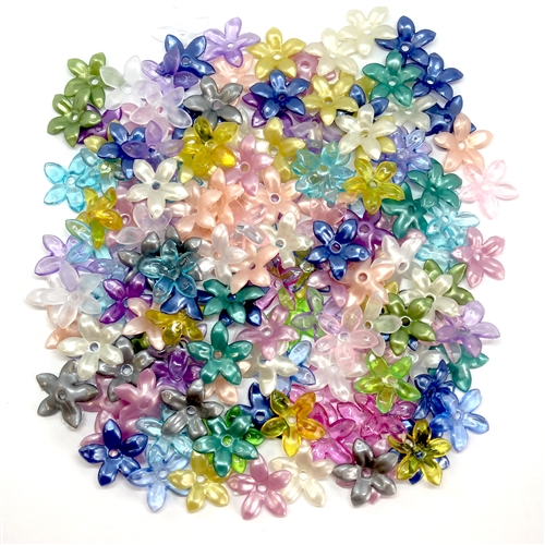 acrylic flowers, plastic, drilled flowers, 05623, B'sue Boutiques, US Made, vintage jewelry supplies, plastic flower beads, jewelry findings, acrylic jewelry, mixed media jewelry, flower beads, beading supplies