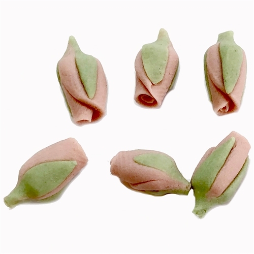 pink rose bud, ceramic flowers, rose bud, rose, pink, bud, 11x5mm, flower, ceramic, green leaf, handmade, vintage, handmade ceramic flowers, US made, B'sue Boutiques, jewelry supplies, vintage supplies, jewelry findings, jewelry parts, 05830