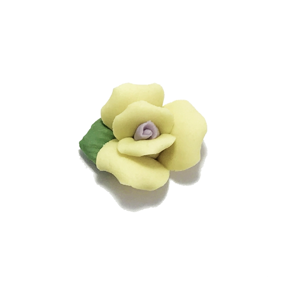 ceramic flowers, jewelry supplies, handmade flowers, bisque roses, jewelry making supplies, vintage jewelry supplies, yellow flower, bsueboutiques, 0786, 18mm