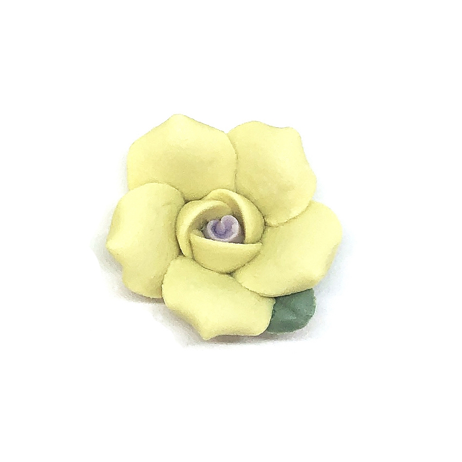 ceramic flowers, jewelry supplies, handmade flowers, bisque roses, jewelry making supplies, vintage jewelry supplies, yellow flower, b'sueboutiques, 0794, 25mm, yellow rose, rose, ceramic rose