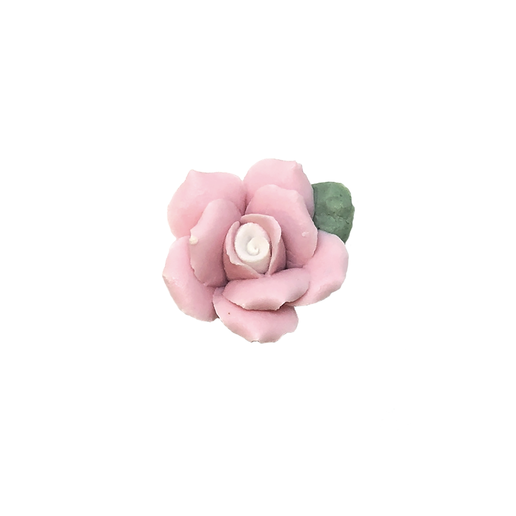 pink and white ceramic flower, flower, bisque rose, rose, ceramic flower, three layers, pink flower, white center, handmade, flat back design, pink and white, 17mm, rose flower, ceramic rose, jewelry making, jewelry supplies, B'sue Boutiques, 09032