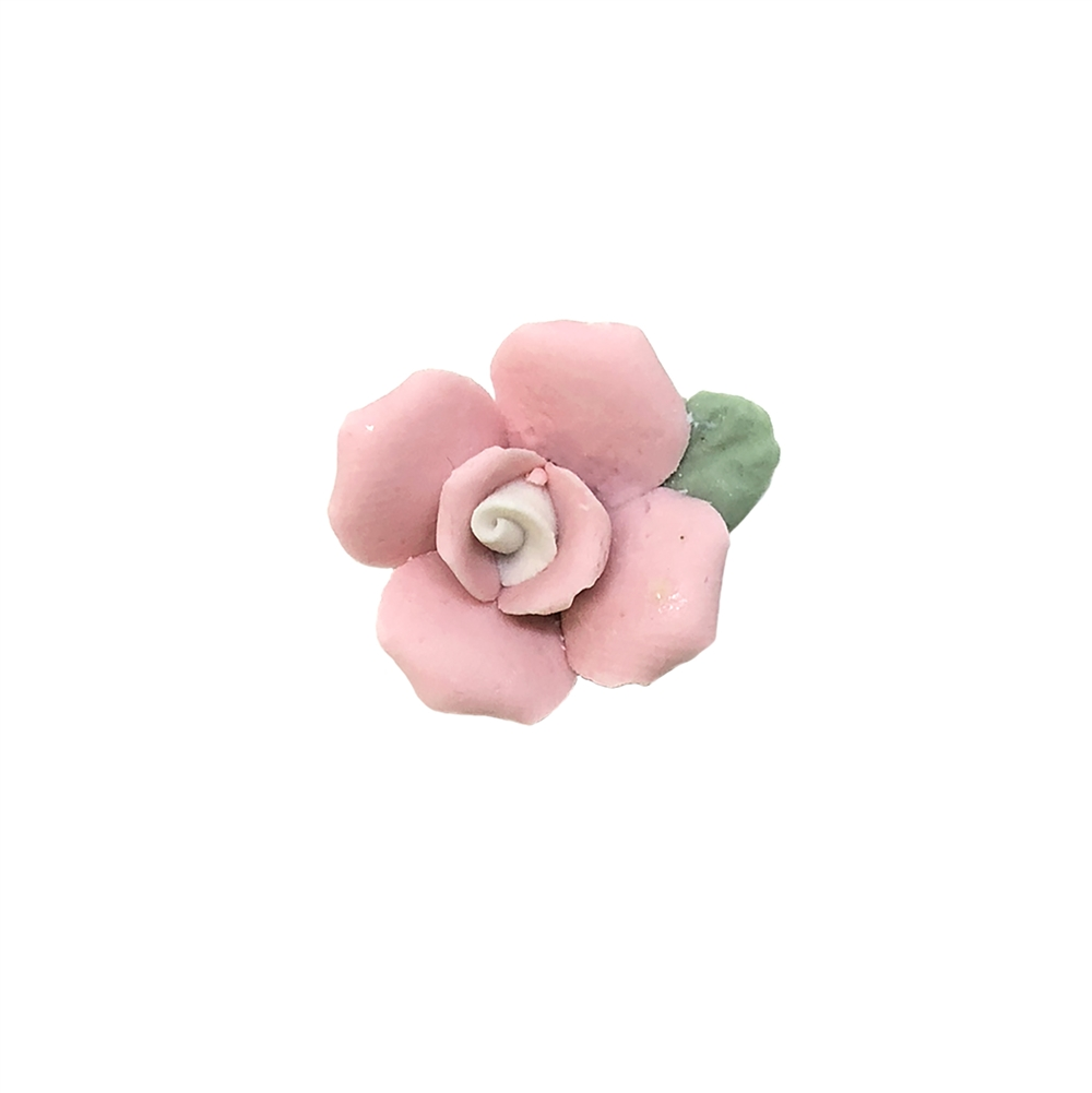 pink and white ceramic flower, flower, bisque rose, rose, ceramic flower, two layers, pink flower, white center, handmade, flat back design, pink and white, imported, 17mm, rose flower, ceramic rose, jewelry making, jewelry supplies, B'sue Boutiques,09041