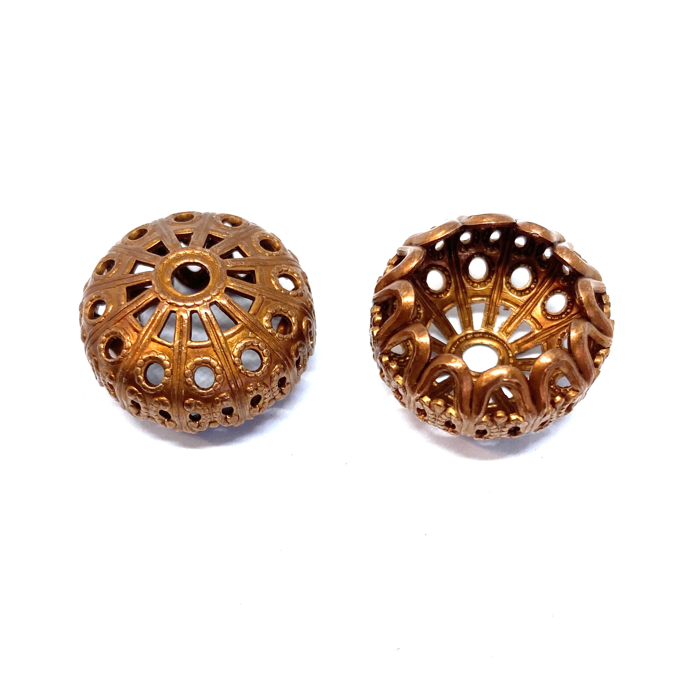 Victorian filigree bead, gingerbread brass, brass stamping, bead, filigree bead, filigree stamping, bead, 19x11mm, US-made, antique copper, tassel cap, bead cap, Victorian style, nickel-free, B'sue Boutiques, vintage supplies, 01687